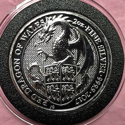 Red Dragon Of Wales 2 Troy Oz .999 Fine Silver Round Thick Queens Beast Coin 999