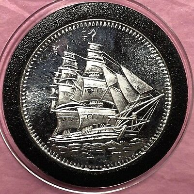 Pirate Sailing Ship 1 Troy Oz .999 Fine Silver Round Collectible Coin Medal 999