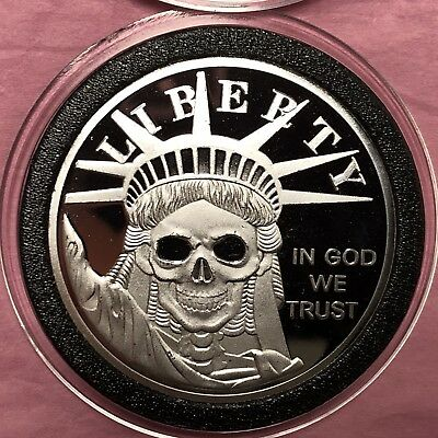 Statue Of Liberty Skull Skeleton 1 Troy Oz .999 Fine Silver Round Proof Coin 999