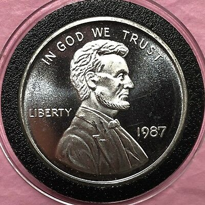 1987 Abraham Lincoln Wheat Penny 1 Troy Oz .999 Fine Silver Round Coin Medal 999