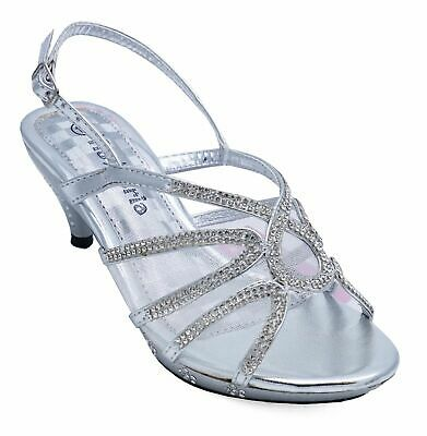b83afe6558 Girls Kids Silver Dress-Up Diamante Low-Heel Sandals Party Shoes Uk 10-