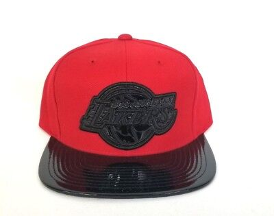 Mitchell   Ness Black   Red Patent Leather Logo Los Angeles Lakers snapback  Hat cc794c4303d4