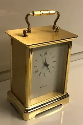 Vintage Tiffany & Co Brass Portfolio Desk Quartz Clock - Made in Germany