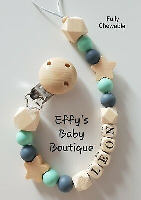 PERSONALISED💚TEETHING🖤Silicone💚Wooden Dummy Clip🖤BPA FREE💚Star🖤Mint💚Grey