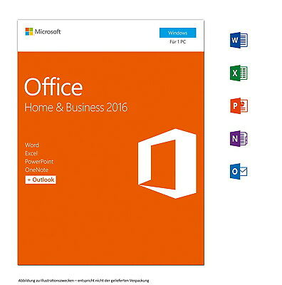 Microsoft Office 2016 Home and Business (Outlook, Word, Excel,.) Vollversion 1PC