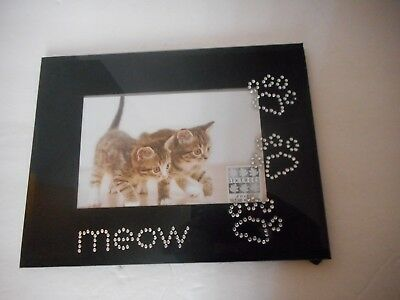 """black Meow cat kitty kitten paw print picture frame holds 4"""" x 6"""" photo"""