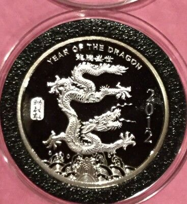 2012 Year Of The Dragon Coin 1/2 Troy Oz .999 Fine Silver Round Chinese Zodiac