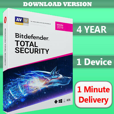 Bitdefender Total Security 2019 | 1 Device - 4 Year (No activation code)