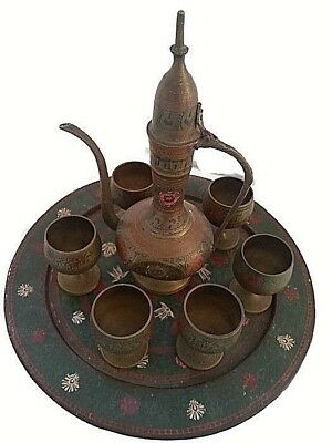 AntIque Brass Spanish winepot set of Jug& 6 Cups Tray HANDMADE Ornate/Home decor