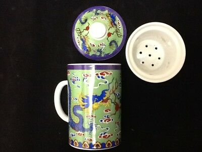 Chinese Porcelain Tea Cup Handled Infuser Strainer with Lid 10 oz Dragon Gr Pur