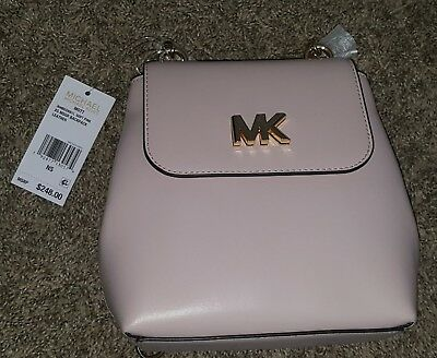 04e87d21af3a NWT Michael Kors Mott Gold Chain Convertible Leather Backpack Shell Pink