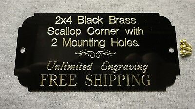 2x4 Black Brass Engraved Plate, Scallop Corner, 2 holes/screws  Plaque Urn Flag