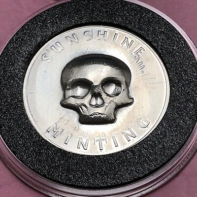 Skull Stamp Sunshine Minting 1/2 Troy Oz .999 Fine Silver Round Coin Medal 999