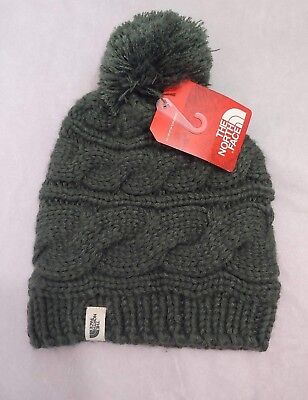 e1ffc7924 THE NORTH FACE Unisex Oscar Green Triple Cable Knit Pom Pom Beanie Hat One  Size