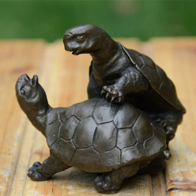 Art Deco handmade Sculpture China  Fengshui Lovers turtle Bronze Copper Statue