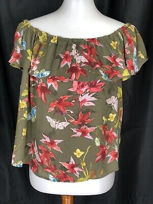 maeve anthropologie Womens Off Shoulder Floral Blouse Size Medium
