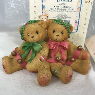 Cherished Teddies Bonnie Harold 466301 Ring In The Holidays W/ Me 2 Teddy Bears