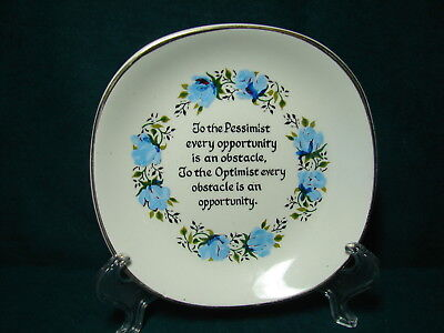 Vtg Weatherby Hanley England Royal Falcon Ware Plate Dish Pessimist / Optimist