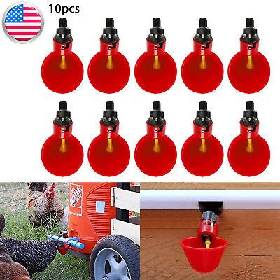 10 PACKS Poultry Water Drinking Cup Automatic Drinker Chicken Hen Bird Feeder