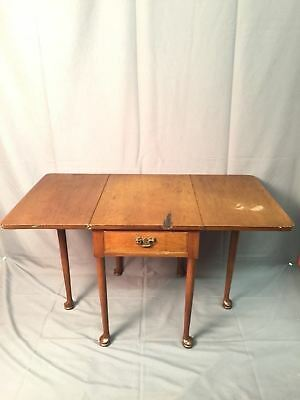 Biggs Mahogany Queen Anne Drop Leaf Side Table Vintage 75th Anniversary USA Rare