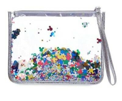 (NEW) Disney Parks Mickey Mouse Confetti Clutch Clear Pouch Wristlet