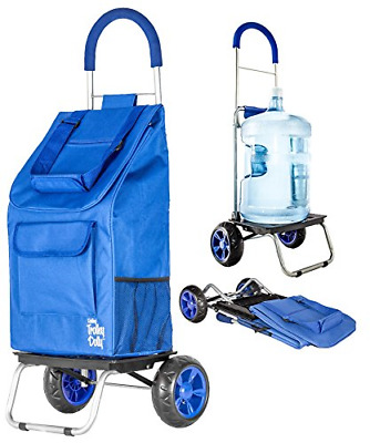 Trolley Dolly Foldable Shopping Grocery Cart For Heavy Duty Groceries (Blue)