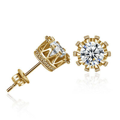 2019 New 3 Pair Men Women's Gold Plated Cubic Zirconia Crystal Stud Earrings 6mm
