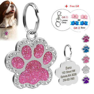 Paw Glitter Dog ID Tags Personalised Pet Puppy Rhinestone Tag Engraved Free Name