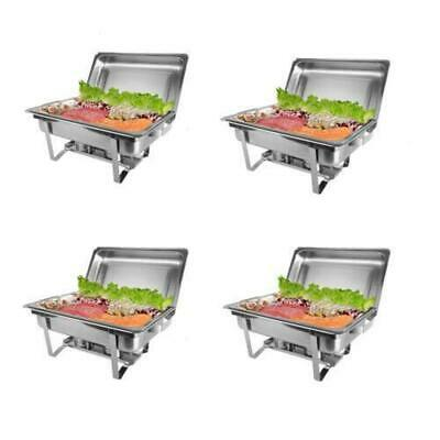 4pcs Rovsun Chef 8 Quart Full Size Stainless Steel Chafer with Folding Frame