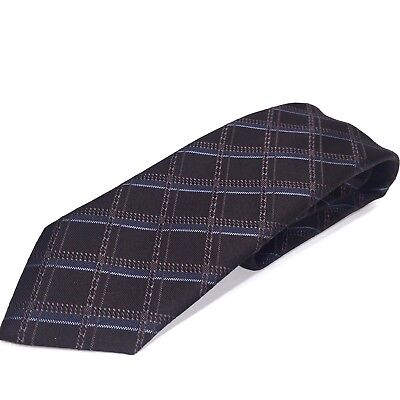 BRIONI Mens Black Gray Blue Check Silk Neck Tie Handmade in Italy (MSRP $230)
