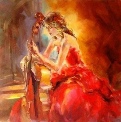 ZWPT169  abstract fancy music girl hand-painted oil painting home art on Canvas
