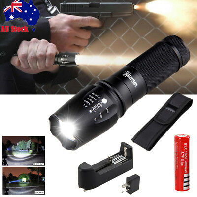 Military 20000lm XM-L2 LED Zoomable Flashlight Rechargeable Torch Hiking Light