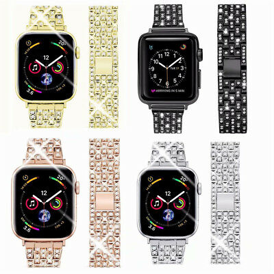 Stainless Steel Bling Diamond Bands for Apple Watch Series 4 3 2 1 iWatch Straps