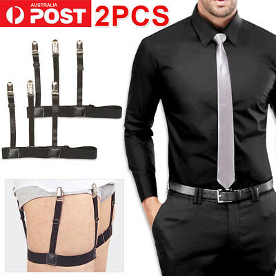2x Men T Shirt Suspender Stays Holders Elastic Garter w/ Non-slip Locking Clamps