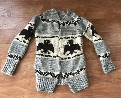 Vintage 60's Cowichan Sweater Birds Wool Hand Knit Cardigan RARE!