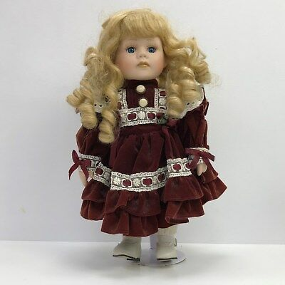 LEONARDO COLLECTION Blonde Hair Blue Eyed Porcelain Doll Stand 38738