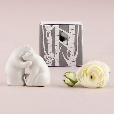 White Ceramic Bear Hug Salt and Pepper Shakers with Gift Box Pack of 2