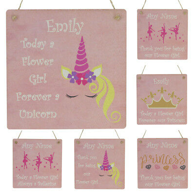 Flower Girl Gift Thank You Wedding Favour Personalised NAME Plaque Pink Sign