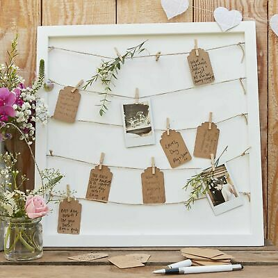 Wooden Peg & String & Tag Frame Alternative Guest Book - Rustic Country