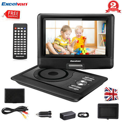 "10.5"" Portable DVD Player USB 270° Swivel Screen Rechargeable Battery SD USB TV"