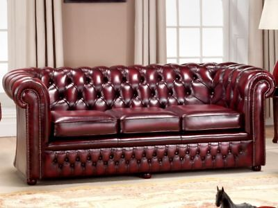Burnley 3str 6ft chesterfield sofa in Antique Leather