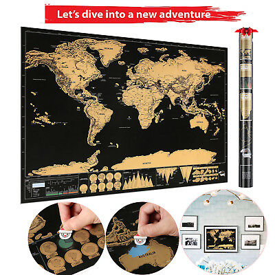 82.5 x 59.4 cm BIG Scratch Off World Map Poster with States and Country Flags