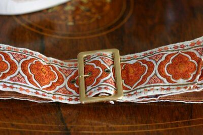 Vintage ladies belt Lutece France braid ribbon and leather size small