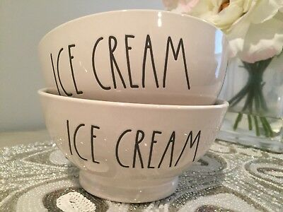 Rae Dunn ICE CREAM Bowls Set Of 2 LL HTF Farmhouse Letters NEW