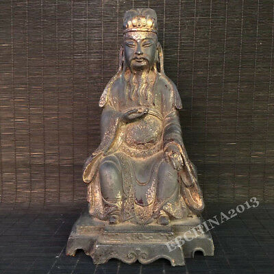 "10"" Old China Antique Bronze Cloisonne Carved Taoism Religion Worship God Statue"