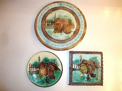 Antique Matched Majolica Set Dog, Doghouse, Crow, Footed Cake Stand Trivet Plate