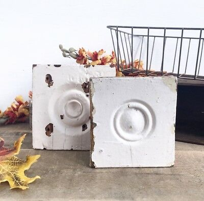 """Architectural Salvage Wood Bullseye Rosette Rustic Distressed 5"""" Farmhouse FALL"""