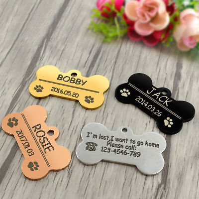 Dog Collar Tag with Bone Shape Personalized Engraved Pet ID Name Tag 4 Colors H4
