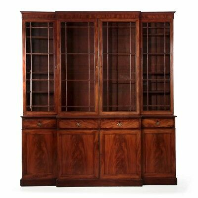 English George III Mahogany Antique Breakfront Bookcase Cabinet, 18th Century