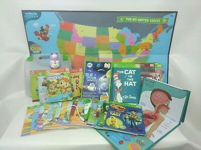 Leapfrog TAG + Jr Reader lot 2 Pens 34 Books Human Body Solar System US Map Case